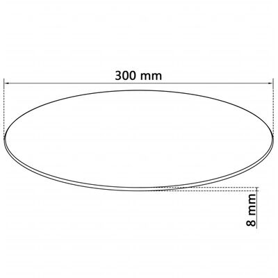 """vidaXL Table Top Tempered Glass Round 11.8"""""""