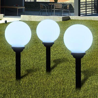 "vidaXL Outdoor Path Garden Solar Lamp Solar Ball Light LED 7.9"" 3pcs with Ground Spike"