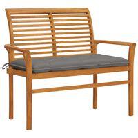 "vidaXL Garden Bench with Gray Cushion 44.1"" Solid Teak Wood"