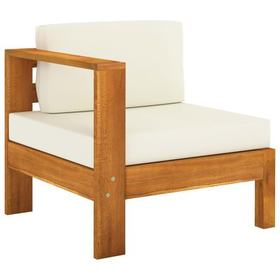 vidaXL 8 Piece Garden Lounge Set with Cream White Cushions Acacia Wood