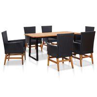 vidaXL 9 Piece Outdoor Dining Set Poly Rattan and Acacia Wood Black