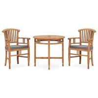 vidaXL 3 Piece Garden Dining Set with Cushions Solid Teak Wood