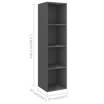 vidaXL 2 Piece TV Cabinet Set High Gloss Gray Chipboard