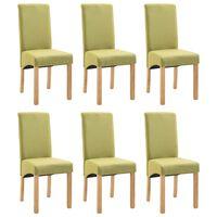 vidaXL Dining Chairs 6 pcs Green Fabric