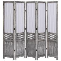 """vidaXL 5-Panel Room Divider Gray 68.9""""x64.7"""" Fabric"""