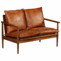 vidaXL 2-Seater Sofa Real Leather with Acacia Wood Brown