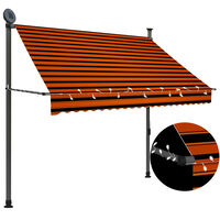 """vidaXL Manual Retractable Awning with LED 78.7"""" Orange and Brown"""
