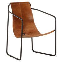 vidaXL Relaxing Armchair Brown Real Leather