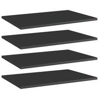 "vidaXL Bookshelf Boards 4 pcs High Gloss Black 23.6""x15.7""x0.6"" Chipboard"