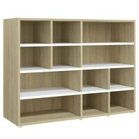 "vidaXL Side Cabinet White and Sonoma Oak 38.2""x12.6""x28.3"" Chipboard"