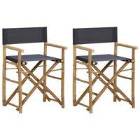 vidaXL Folding Director's Chairs 2 pcs Dark Gray Bamboo and Fabric