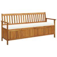 "vidaXL Storage Bench with Cushion 66.9"" Solid Acacia Wood"