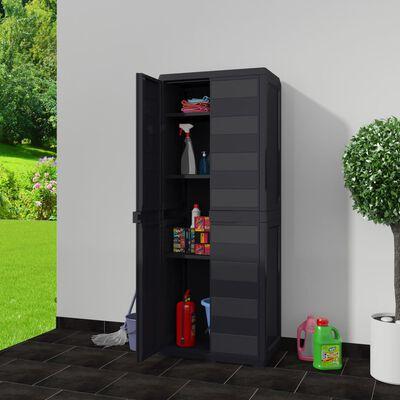 vidaXL Garden Storage Cabinet with 3 Shelves Black