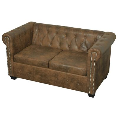vidaXL Chesterfield Sofa 2-Seater Brown Faux Leather