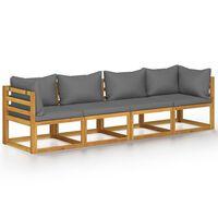 vidaXL 4-Seater Garden Sofa with Cushion Solid Acacia Wood