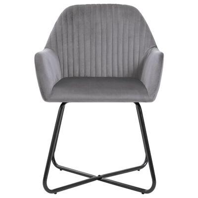 vidaXL Dining Chairs 4 pcs Gray Velvet