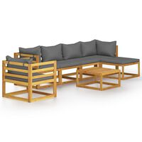 vidaXL 7 Piece Garden Lounge Set with Cushion Solid Acacia Wood