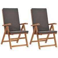 vidaXL Reclining Garden Chairs with Cushions 2 pcs Solid Teak Wood Gray