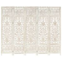 """vidaXL Hand carved 5-Panel Room Divider White 78.7""""x65"""" Solid Mango Wood"""