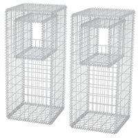 "vidaXL Gabion Basket Posts/Planters 2 pcs Steel 19.7""x19.7""x47.2"""