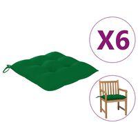 "vidaXL Chair Cushions 6 pcs Green 19.7x19.7""x2.8"" Fabric"""