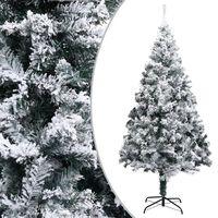 "vidaXL Artificial Christmas Tree with Flocked Snow Green 94.5"" PVC"