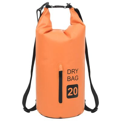 vidaXL Dry Bag with Zipper Orange 5.3 gal PVC