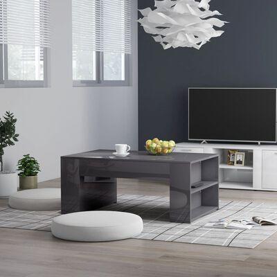 "vidaXL Coffee Table High Gloss Gray 39.4""x23.6""x16.5"" Chipboard"