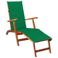 vidaXL Outdoor Deck Chair with Footrest and Cushion Solid Acacia Wood