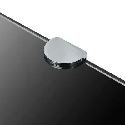"vidaXL Corner Shelf with Chrome Supports Glass Black 17.7""x17.7"""