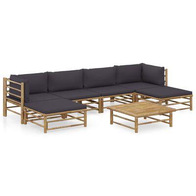 vidaXL 7 Piece Garden Lounge Set with Dark Gray Cushions Bamboo