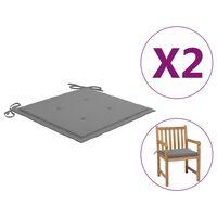 "vidaXL Garden Chair Cushions 2 pcs Grey 19.7""x19.7""x1.6"""