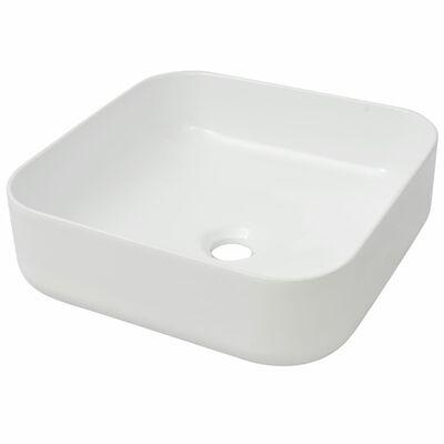"""vidaXL Basin Square Ceramic White 15""""x15""""x5.3"""""""