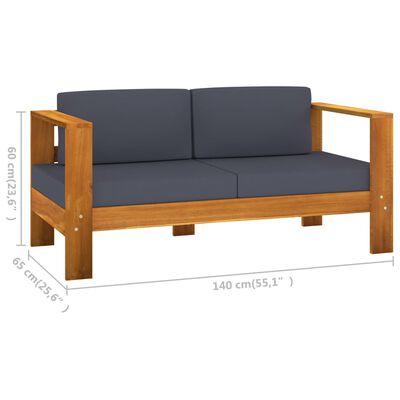 "vidaXL Garden Sofa Bench with Cushions 55.1"" Solid Acacia Wood Gray"