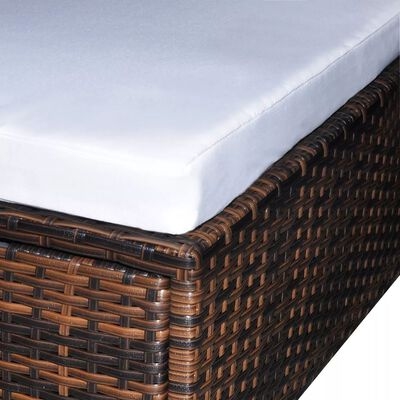 vidaXL 6 Piece Garden Lounge Set with Cushions Poly Rattan Brown