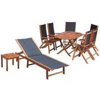 vidaXL 9 Piece Outdoor Dining Set with Cushions Solid Acacia Wood
