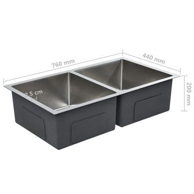 vidaXL Handmade Kitchen Sink with Strainer Stainless Steel
