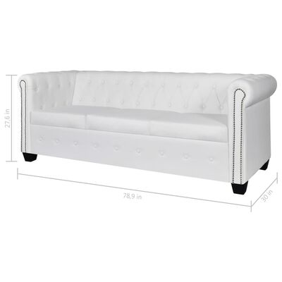 vidaXL Chesterfield 3-Seater Artificial Leather White