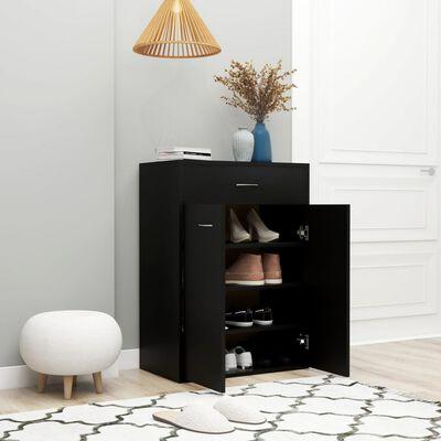 "vidaXL Shoe Cabinet Black 23.6""x13.7""x33"" Chipboard"