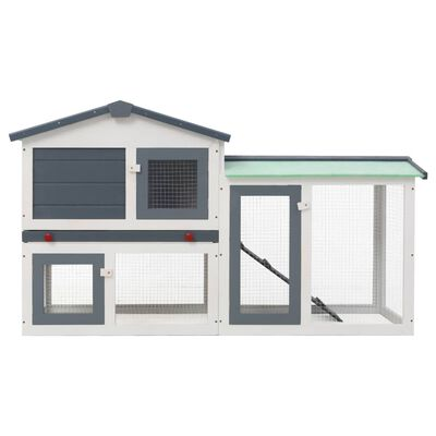 """vidaXL Outdoor Large Rabbit Hutch Gray and White 57.1""""x17.7""""x33.5"""" Wood"""