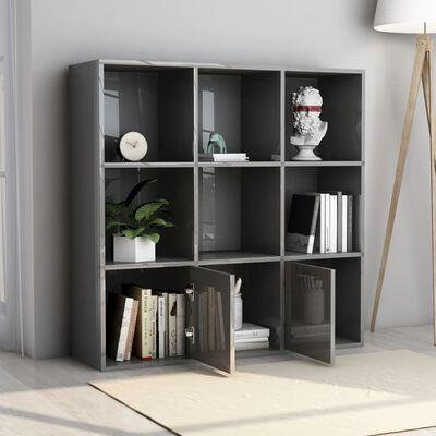 """vidaXL Book Cabinet High Gloss Gray 38.6""""x11.8""""x38.6"""" Chipboard"""