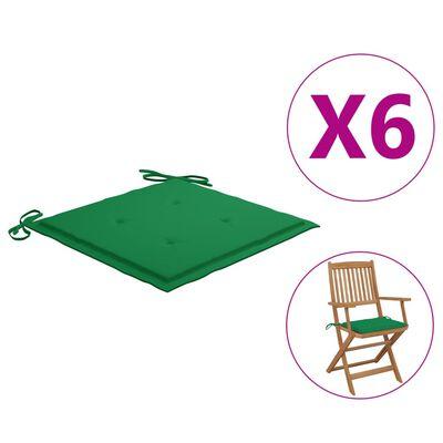 "vidaXL Garden Chair Cushions 6 pcs Green 15.7""x15.7""x1.6"" Fabric"