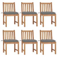 vidaXL Garden Chairs 6 pcs with Cushions Solid Teak Wood