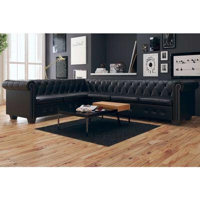 vidaXL Chesterfield Corner Sofa 6-Seater Black Faux Leather