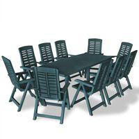 vidaXL 11 Piece Outdoor Dining Set Plastic Green
