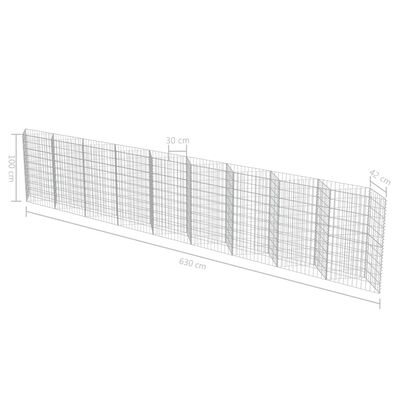 "vidaXL Gabion Wall Galvanized Steel 248""x11.8""x39.4"""