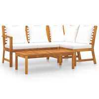 vidaXL 4 Piece Garden Lounge Set with Cushion Cream Solid Acacia Wood
