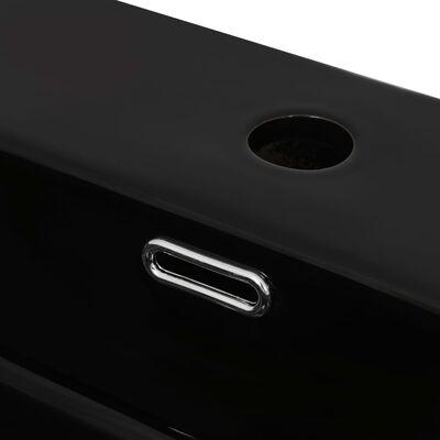 "vidaXL Basin with Faucet Hole Ceramic Black 20.3""x15.2""x5.9"""