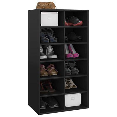 """vidaXL Shoe Rack High Gloss Black 21.3""""x13.4""""x39.4"""" Chipboard"""