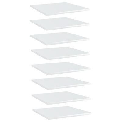 "vidaXL Bookshelf Boards 8 pcs High Gloss White 15.7""x15.7""x0.6"" Chipboard"